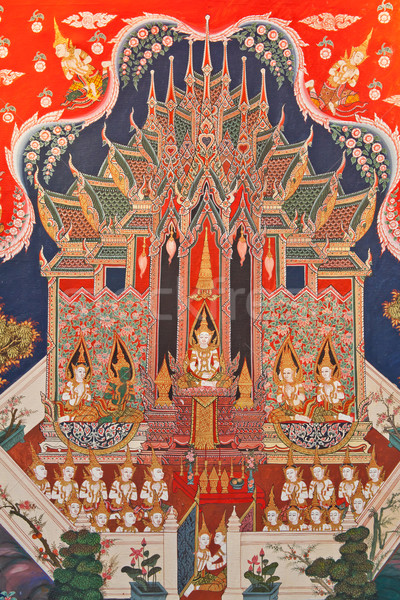 Thai art painting in a temple in Thailand Stock photo © pinkblue