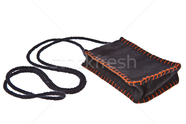 Black cotton money pocket with strap isolated on white backgroun Stock photo © pinkblue