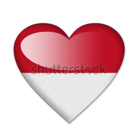 Stockfoto: Monaco · vlag · hartvorm · geïsoleerd · witte · liefde