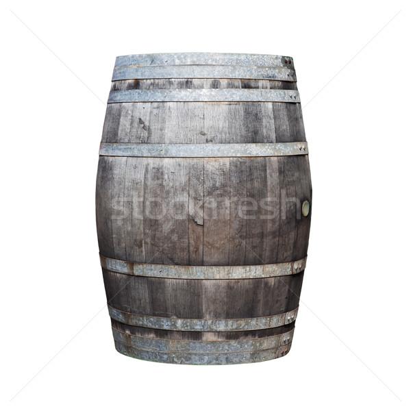 Big old wine barrel isolated on white background Stock photo © pinkblue