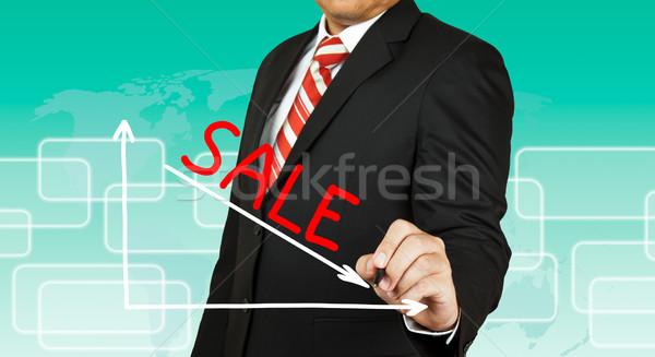 бизнесмен рисунок графа продажи вниз бизнеса Сток-фото © pinkblue