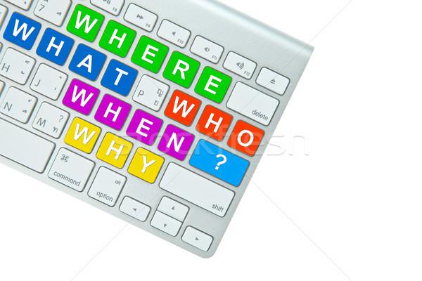 Stockfoto: Vragen · geïsoleerd · witte · internet · werk