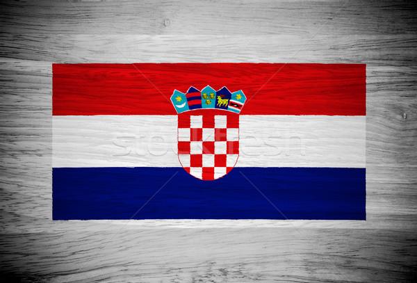 Horvátország zászló fa textúra fal természet háttér Stock fotó © pinkblue