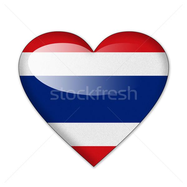 Tayland bayrak kalp şekli yalıtılmış beyaz gülümseme Stok fotoğraf © pinkblue