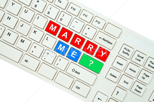 Wording Marry Me on computer keyboard isolated on white backgrou Stock photo © pinkblue