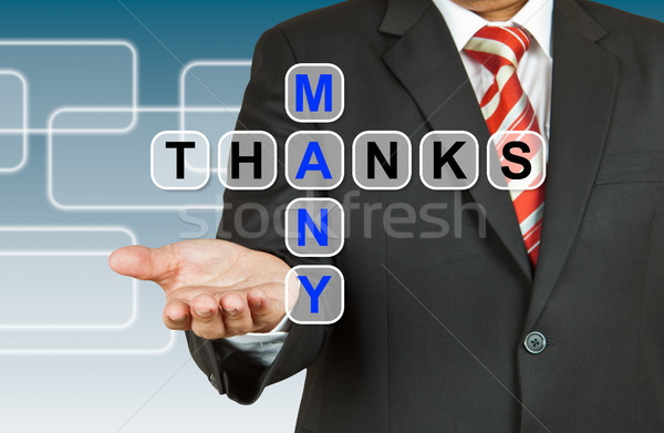 Businessman hand drawing Many Thanks Stock photo © pinkblue