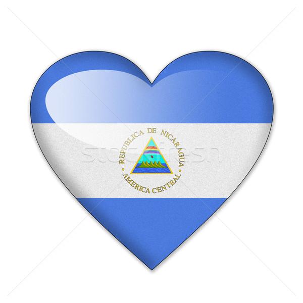 Nicarágua bandeira forma de coração isolado branco amor Foto stock © pinkblue