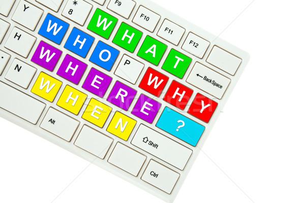 Stockfoto: Vragen · geïsoleerd · witte · business · computer