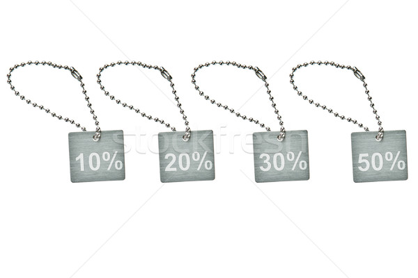 Plata metal descuento etiqueta negro anillo Foto stock © pinkblue