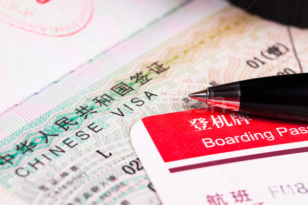 China visa in passport and boarding pass Stock photo © pinkblue