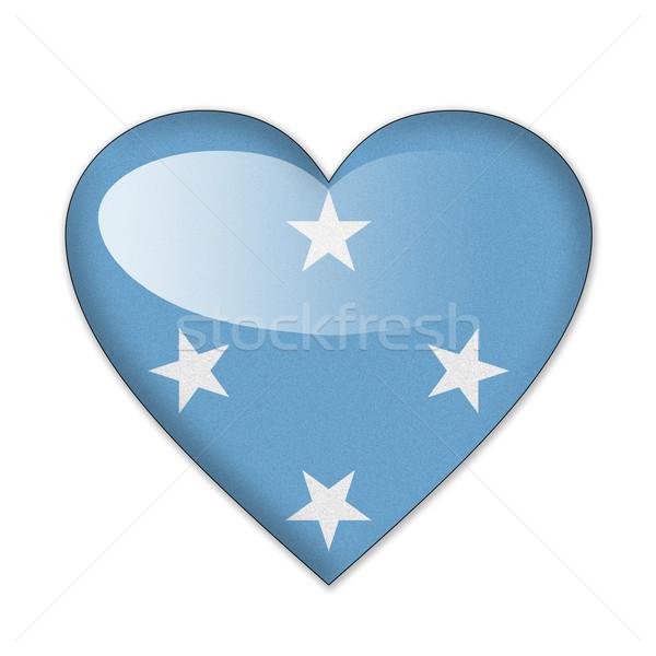 Micronesië vlag hartvorm geïsoleerd witte liefde Stockfoto © pinkblue