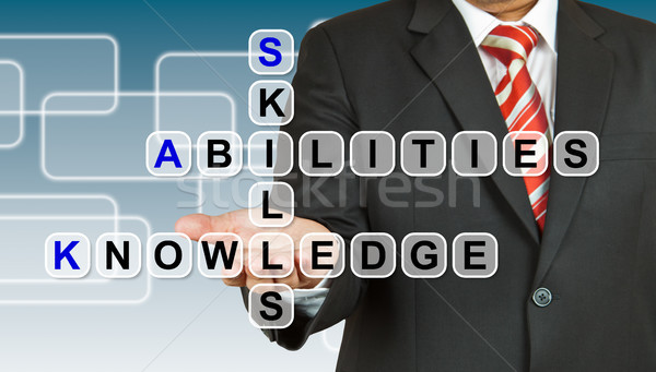 Businessman with wording Skill, Abilities, and Knowledge Stock photo © pinkblue