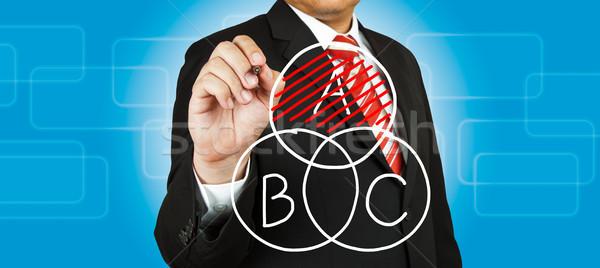 Сток-фото: бизнесмен · рисунок · круга · диаграмма · тень · бизнеса