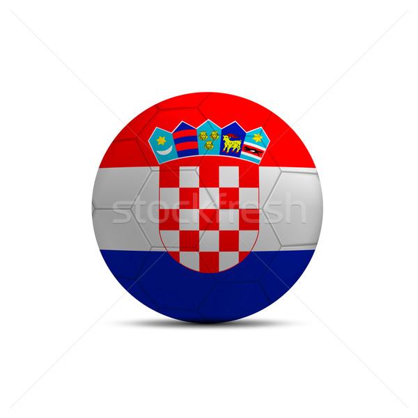 Chorwacja banderą piłka odizolowany biały niebieski Zdjęcia stock © pinkblue