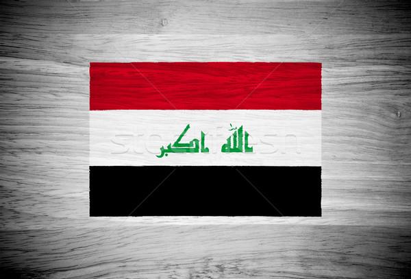 Irak bayrak ahşap doku duvar doğa çerçeve Stok fotoğraf © pinkblue