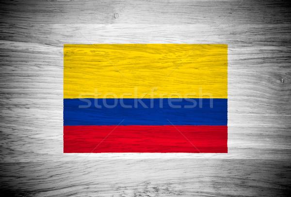 Kolombiya bayrak ahşap doku duvar doğa çerçeve Stok fotoğraf © pinkblue