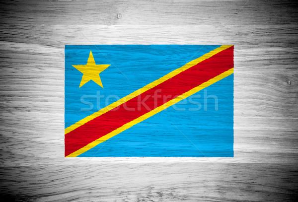 Kongo bayrak ahşap doku doku duvar doğa Stok fotoğraf © pinkblue