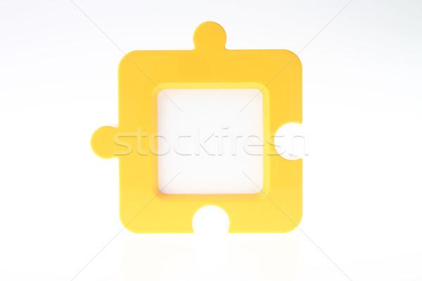 Fényképkeret citromsárga kék puzzle ajándék ajándék Stock fotó © pinkblue