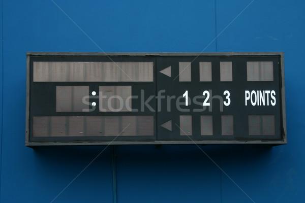 Lege tennis scorebord Blauw muur sport Stockfoto © pinkblue