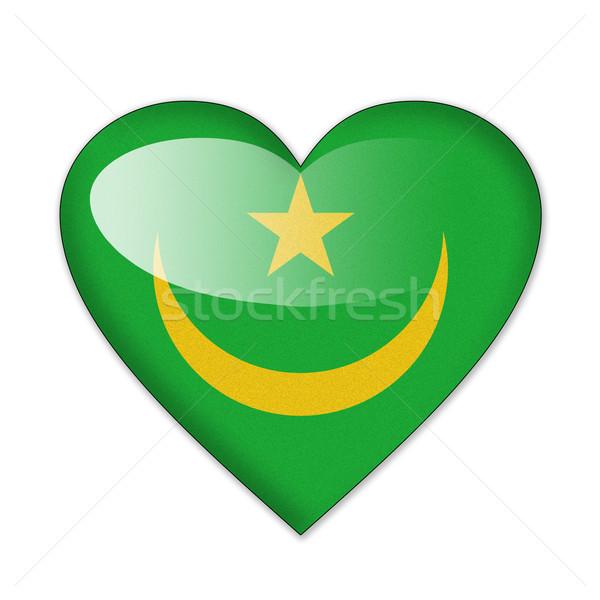 Mauritania flag in heart shape isolated on white background Stock photo © pinkblue