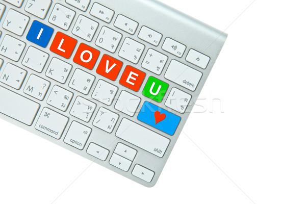 Stockfoto: Liefde · geïsoleerd · witte · internet · hart