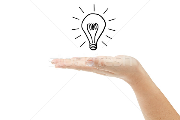 Hand with lightbulb isolated on white background Stock photo © pinkblue