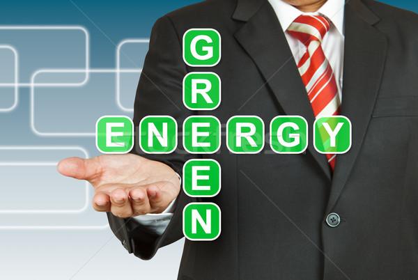 Zakenman hand tekening groene energie business potlood Stockfoto © pinkblue