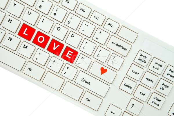 Stock photo: Wording Love on computer keyboard isolated on white background