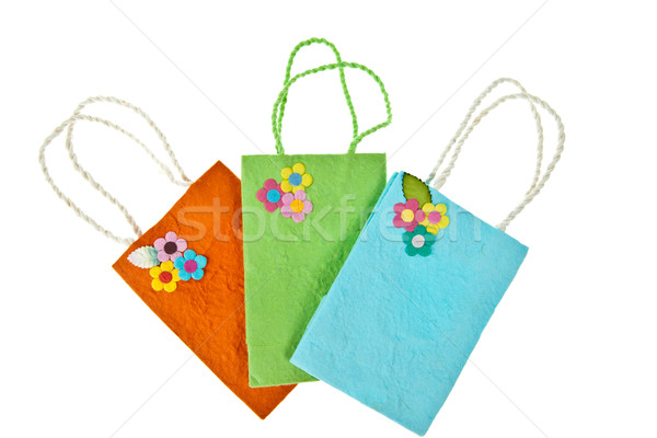 Colorful mulberry paper bag isolated on white background Stock photo © pinkblue