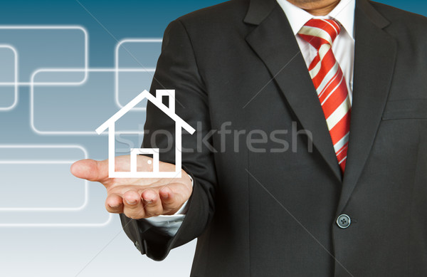 Businessman with wording Free Delivery Stock photo © pinkblue