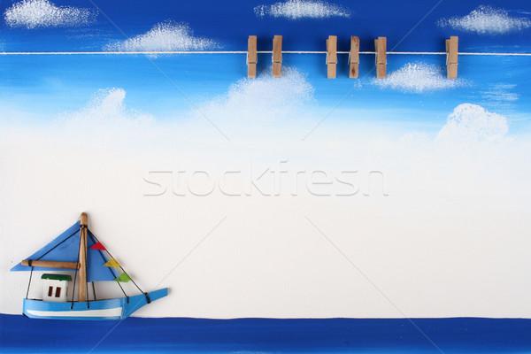 фотография совета скрепку Blue Sky океана Сток-фото © pinkblue