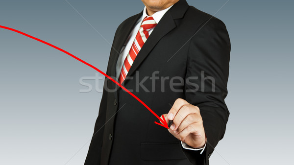 businessman hand drawing chart red arrow Stock photo © pinkblue