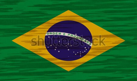 Brazilië vlag katoen textuur wereld achtergrond Stockfoto © pinkblue
