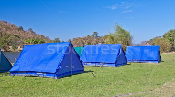 Camping tent bergen berg zomer groene Stockfoto © pinkblue