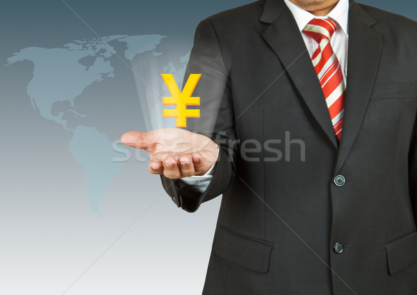 Empresario yen símbolo mano mapa diseno Foto stock © pinkblue