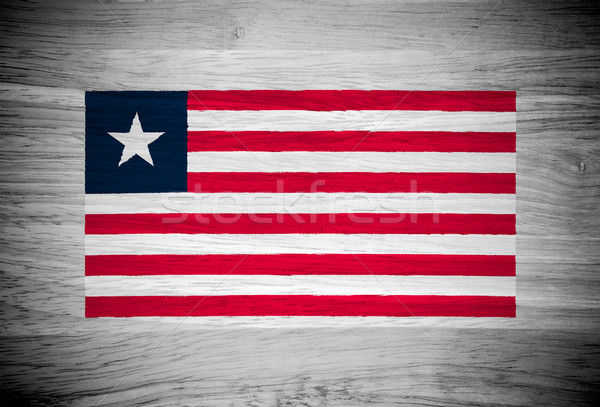 Liberia flag on wood texture Stock photo © pinkblue