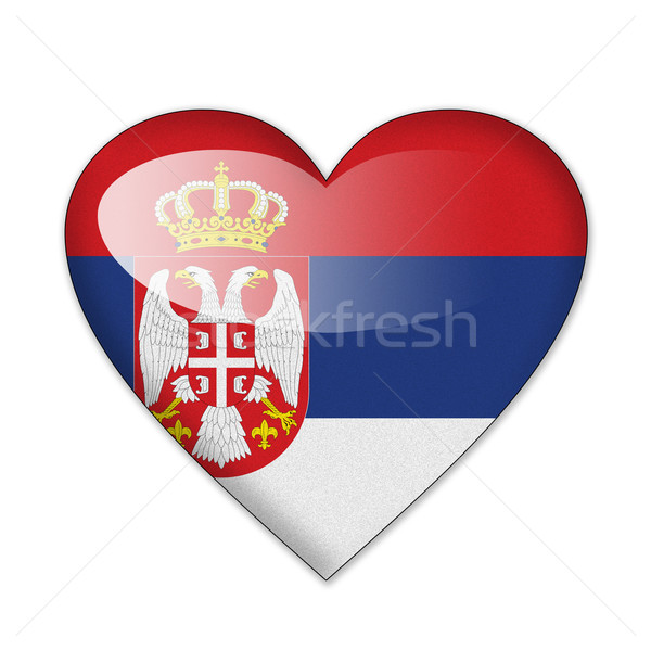 Serbia flag in heart shape isolated on white background Stock photo © pinkblue