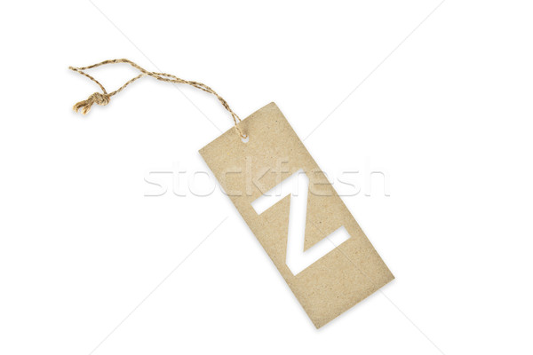 Brown paper tag with letter Z cut Stock photo © pinkblue