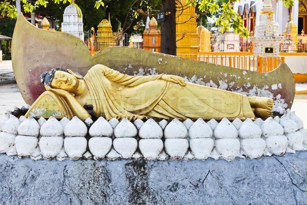 Old Reclining Buddha Statue Stock photo © pinkblue
