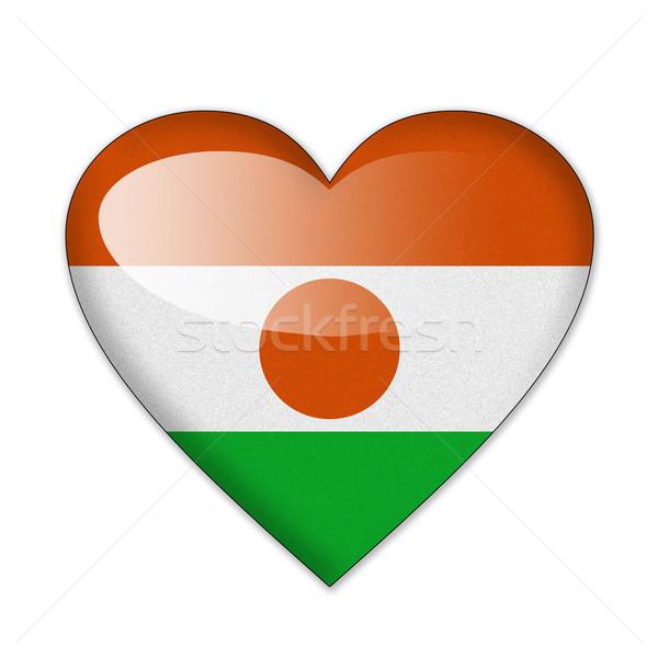 Níger bandera forma de corazón aislado blanco amor Foto stock © pinkblue