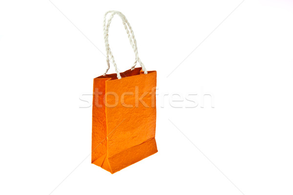 Orange mulberry paper bag isolated on white background Stock photo © pinkblue
