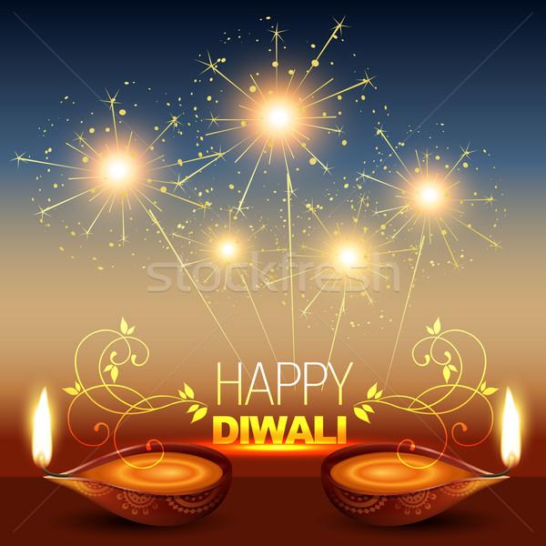 Brillante diwali elegante feliz luz lámpara Foto stock © Pinnacleanimates