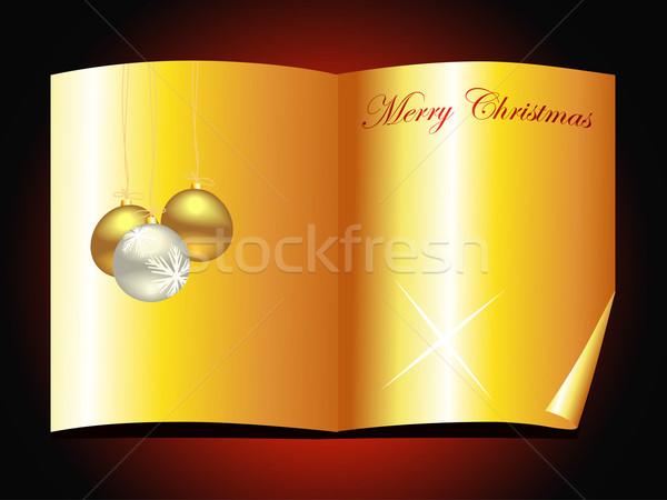 Foto stock: Belo · dourado · natal · livro · projeto · vetor
