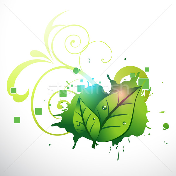 Vetor elegante folha verde projeto abstrato Foto stock © Pinnacleanimates