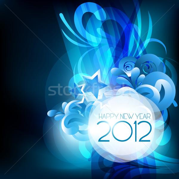 Boldog új évet elegáns kék vektor boldog fény Stock fotó © Pinnacleanimates