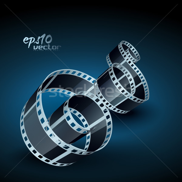 Stock fotó: Valósághű · vektor · tekercs · film · 3D · filmszalag