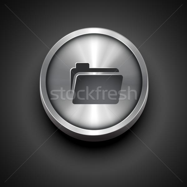 folder metallic icon Stock photo © Pinnacleanimates