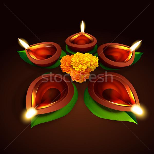 Vector diwali diseno feliz luz hoja Foto stock © Pinnacleanimates