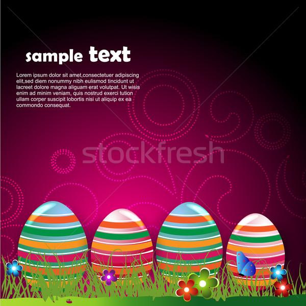 Funky œuf de Pâques vecteur design Pâques printemps Photo stock © Pinnacleanimates