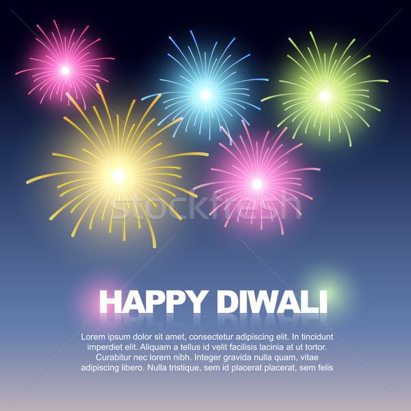 Diwali fuegos artificiales hermosa colorido fuegos artificiales cielo Foto stock © Pinnacleanimates
